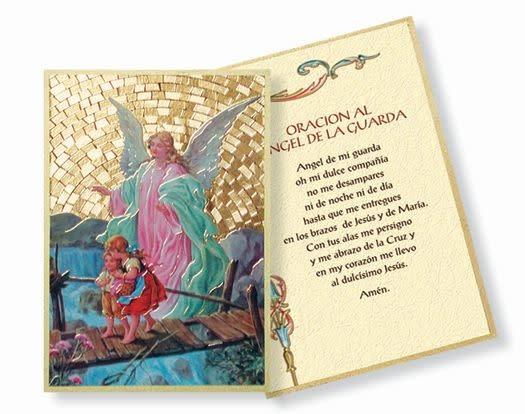 "WJ Hirten 4"" x 6"" Spanish Guardian Angel Prayer Mosaic Plaque"