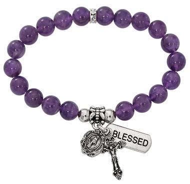 McVan Amethyst Stretch Rosary Bracelet