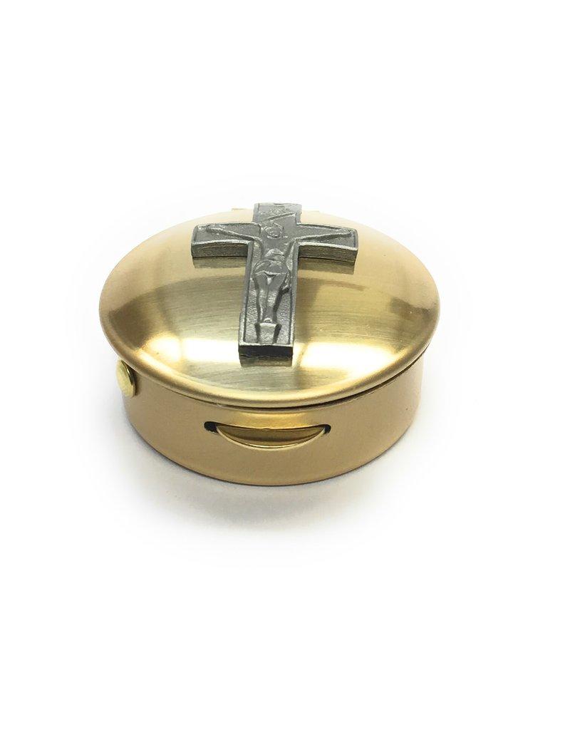 """Simply Catholic Brass Crucifix Pyx (Size 1, 6-9 Hosts, 1/2"""" x 1 1/2"""")"""