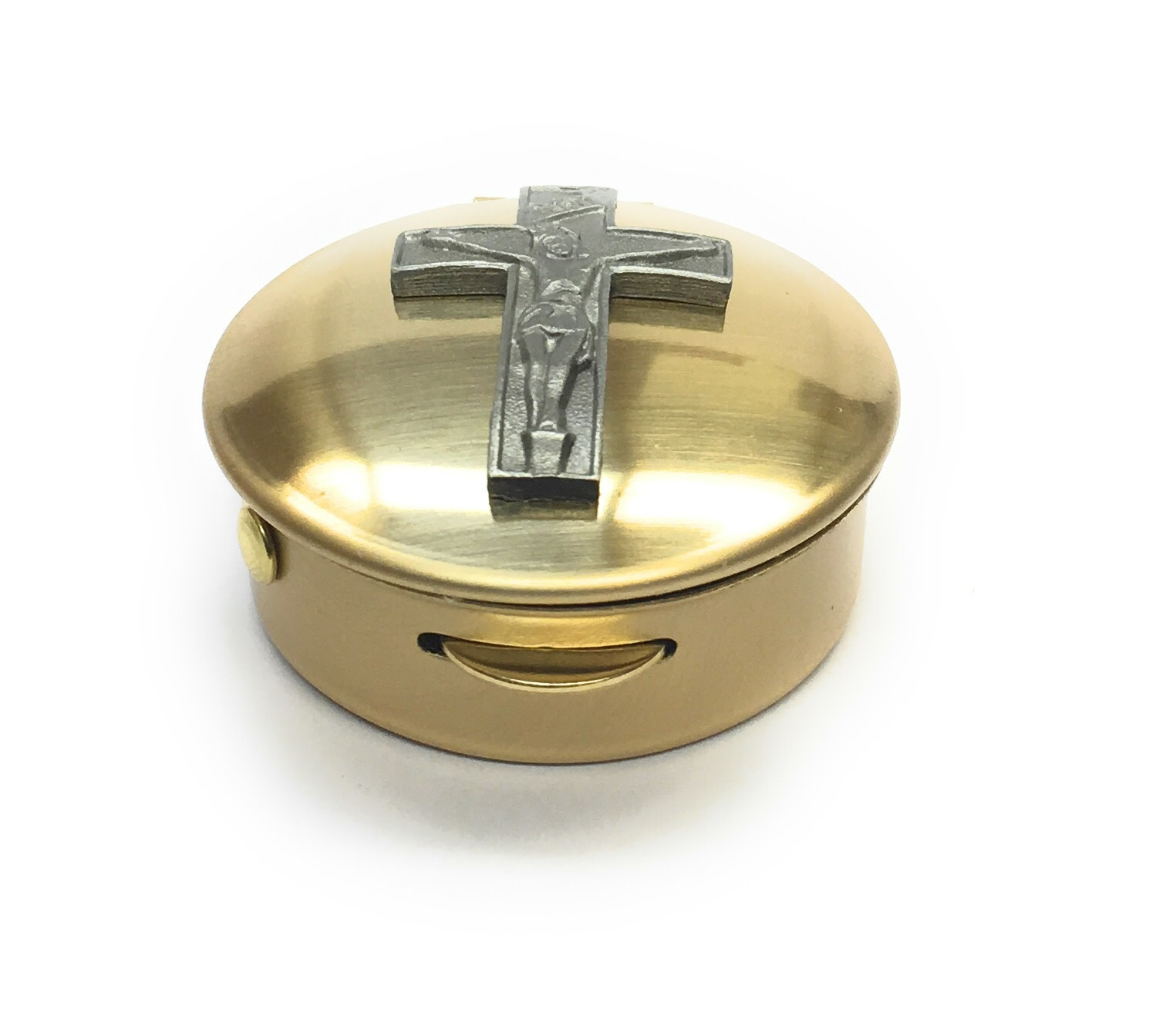 "Simply Catholic Brass Crucifix Pyx (Size 1, 6-9 Hosts, 1/2"" x 1 1/2"")"