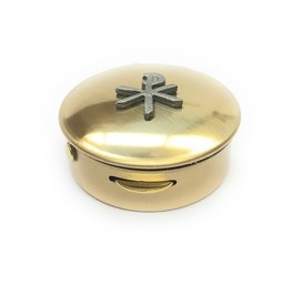 "Religious Art Inc Brass Chi Rho Pyx (Size 1, 6-9 Hosts, 1/2"" x 1 1/2"")"