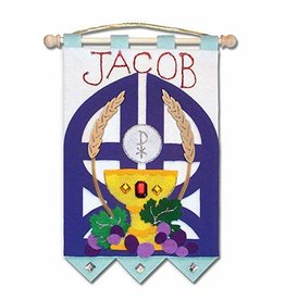 "Illuminated Ink 9"" x 12"" First Communion Banner (Blue)"