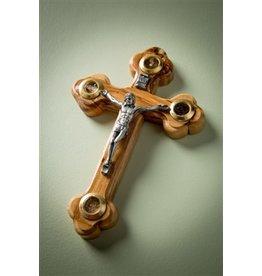"EarthWood Carved Bethlehem Olive Wood Crucifix with Glass Windows 5"""