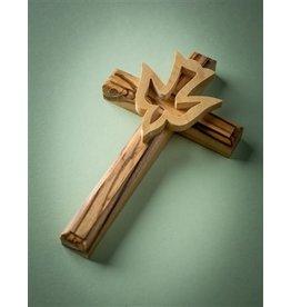 "EarthWood Olive Wood Wall Cross with Dove 5"""