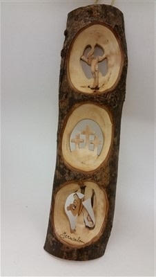 EarthWood Olive Branch with 3 scenes, 3 Crosses, Crucifix, Christ with Cross 11""