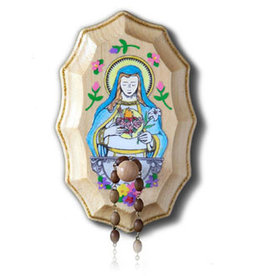 Illuminated Ink Wooden Rosary Holder Immaculate Heart of Mary
