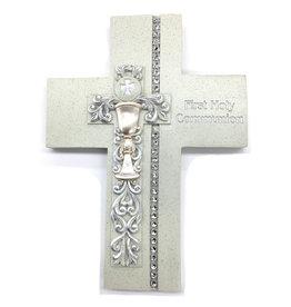 "Roman, Inc 7.5"" Communion Wall Cross Silver Scroll/Chalice Design"