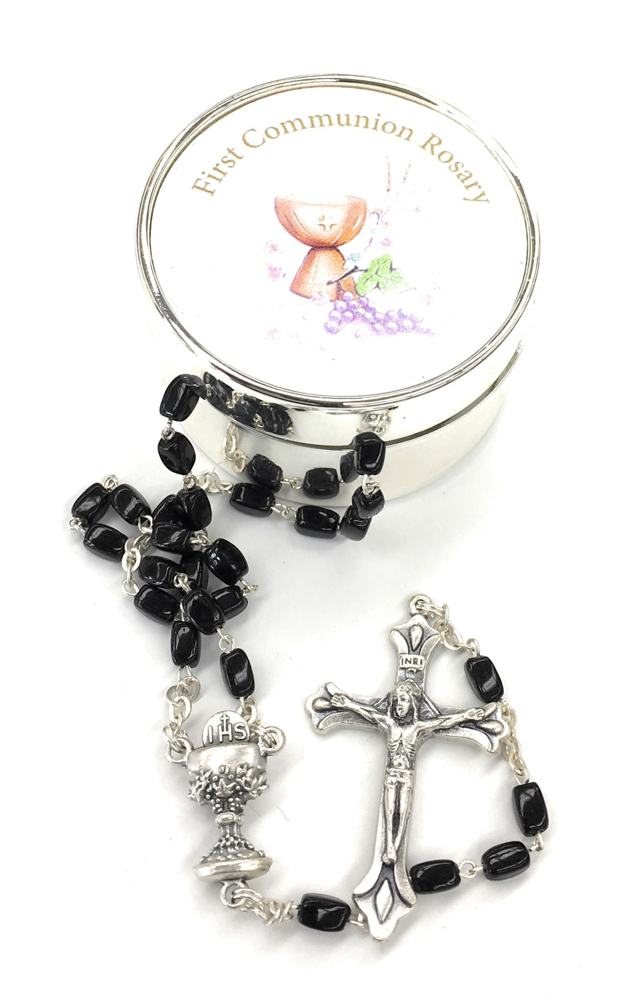 First Holy Communion Silver Box Set With Rosary