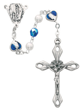 McVan 6mm Blue/Pearl Rosary With Our Lady of Lourdes Medal
