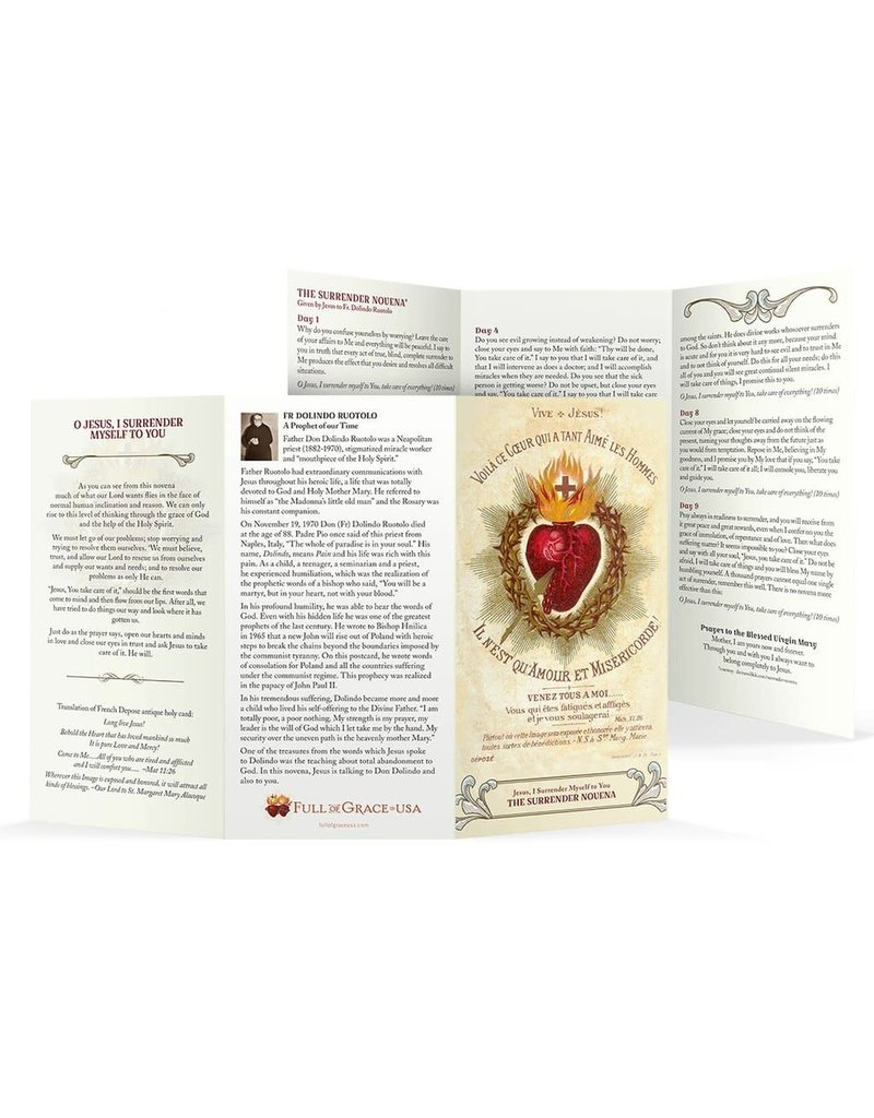 "Full of Grace USA The Surrender Novena Trifold Holy Card - Large Print (8"" X 4.25"")"