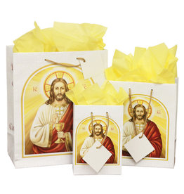 The Printery House Jesus First Holy Communion Gift Bag with Yellow Tissue Paper (Single Bag, Medium Size)