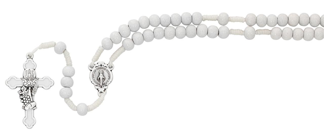 McVan White Corded Communion Rosary