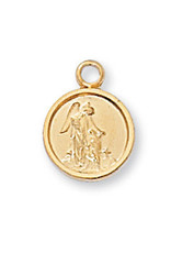 "McVan Gold over Sterling Silver Guardian Angel Medal on 13"" Chain"