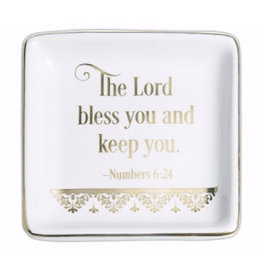 "Abbey Gift The Lord Bless You Numbers 6:24 Trinket Dish (3"" x 3"" x 1/2"")"