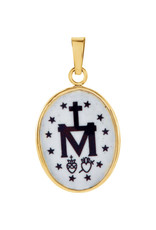 Stuller 14KT (Medium) Hand Painted Porcelain Miraculous Medal (17 x 13.5 mm)