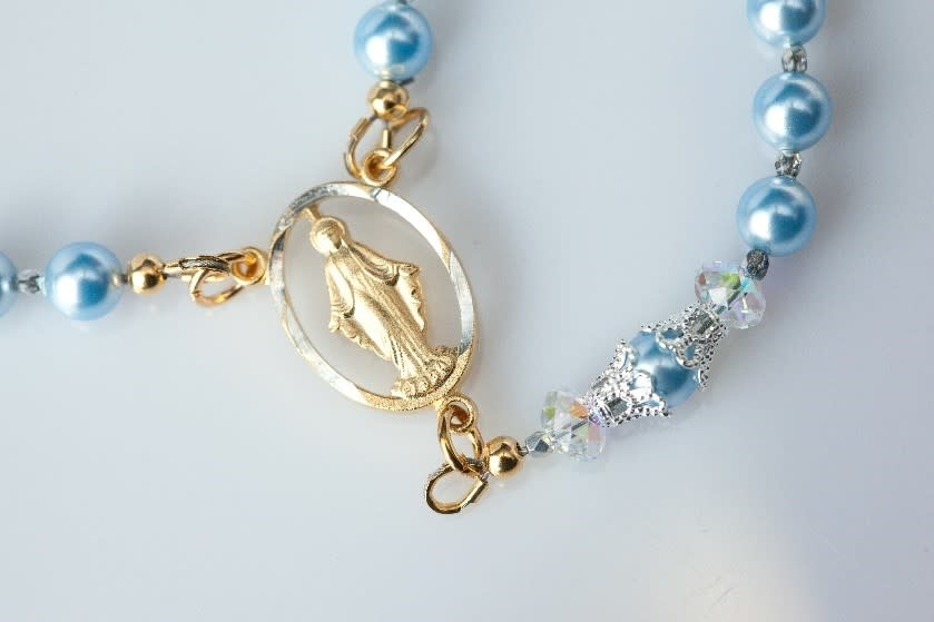 Artisan Jewelry Rosaries Powder Blue Rosary Artisan Heirloom Collection