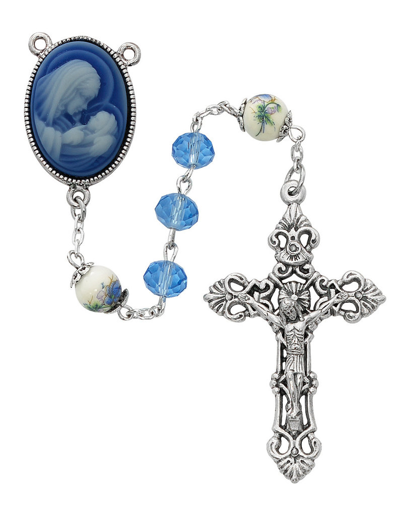McVan 7mm Blue Crystal Rosary with Blue Cameo Madonna and Child Centerpiece