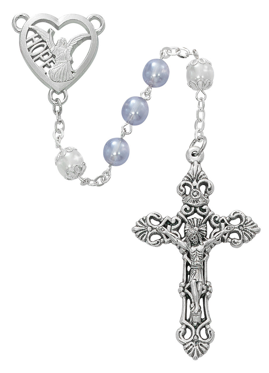 McVan 7mm Lavender Bead Rosary with Hope Angel Centerpiece