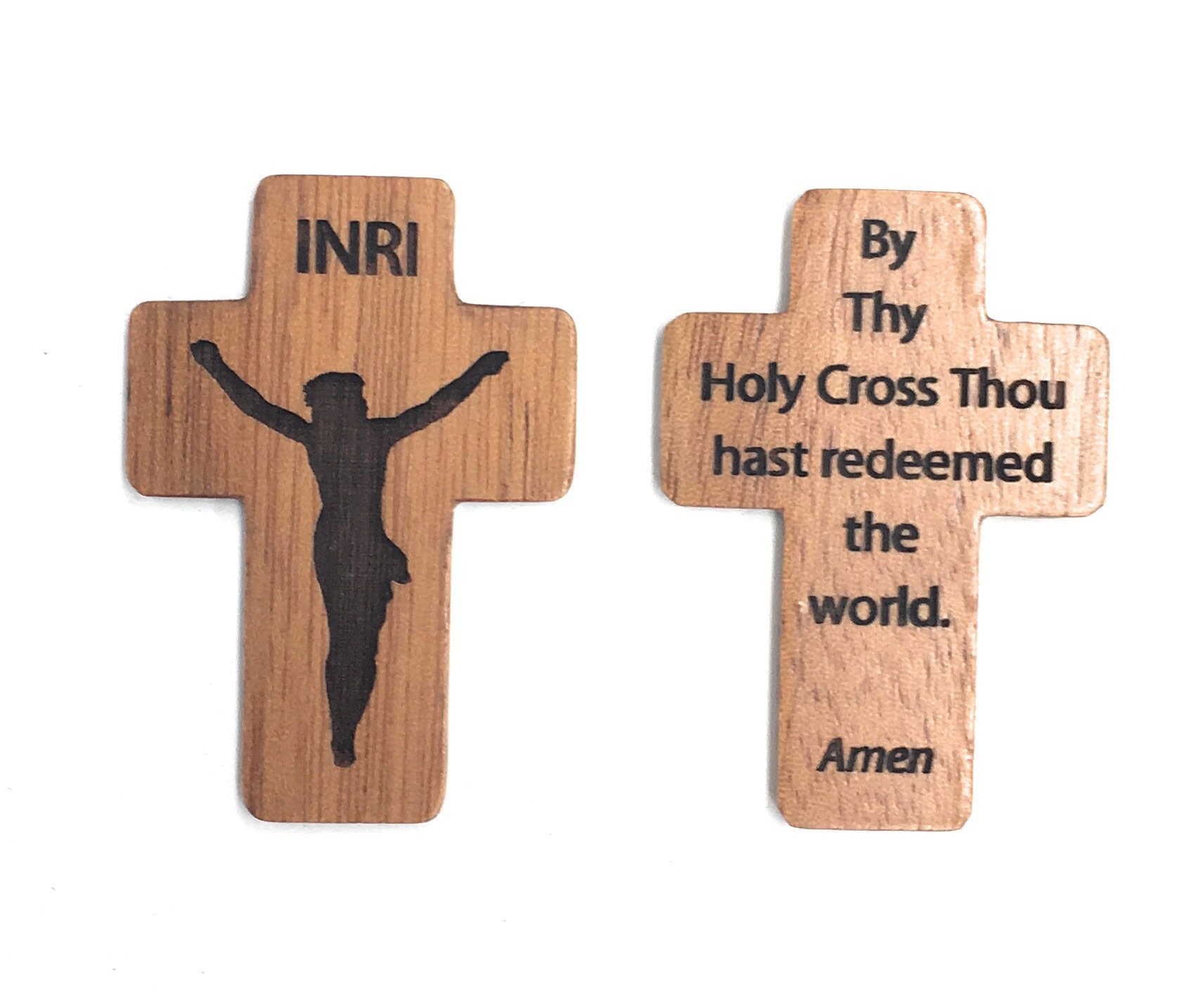 """HJ Sherman 1 3/4"""" Pocket Crucifix with """"By Thy Holy Cross Thou hast redeemed the world. Amen"""" On Back"""