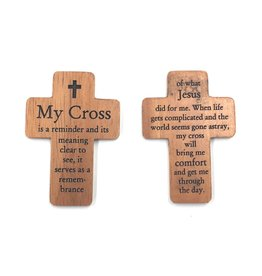 "HJ Sherman 1 3/4"" Pocket Cross with ""My Cross"" Prayer"
