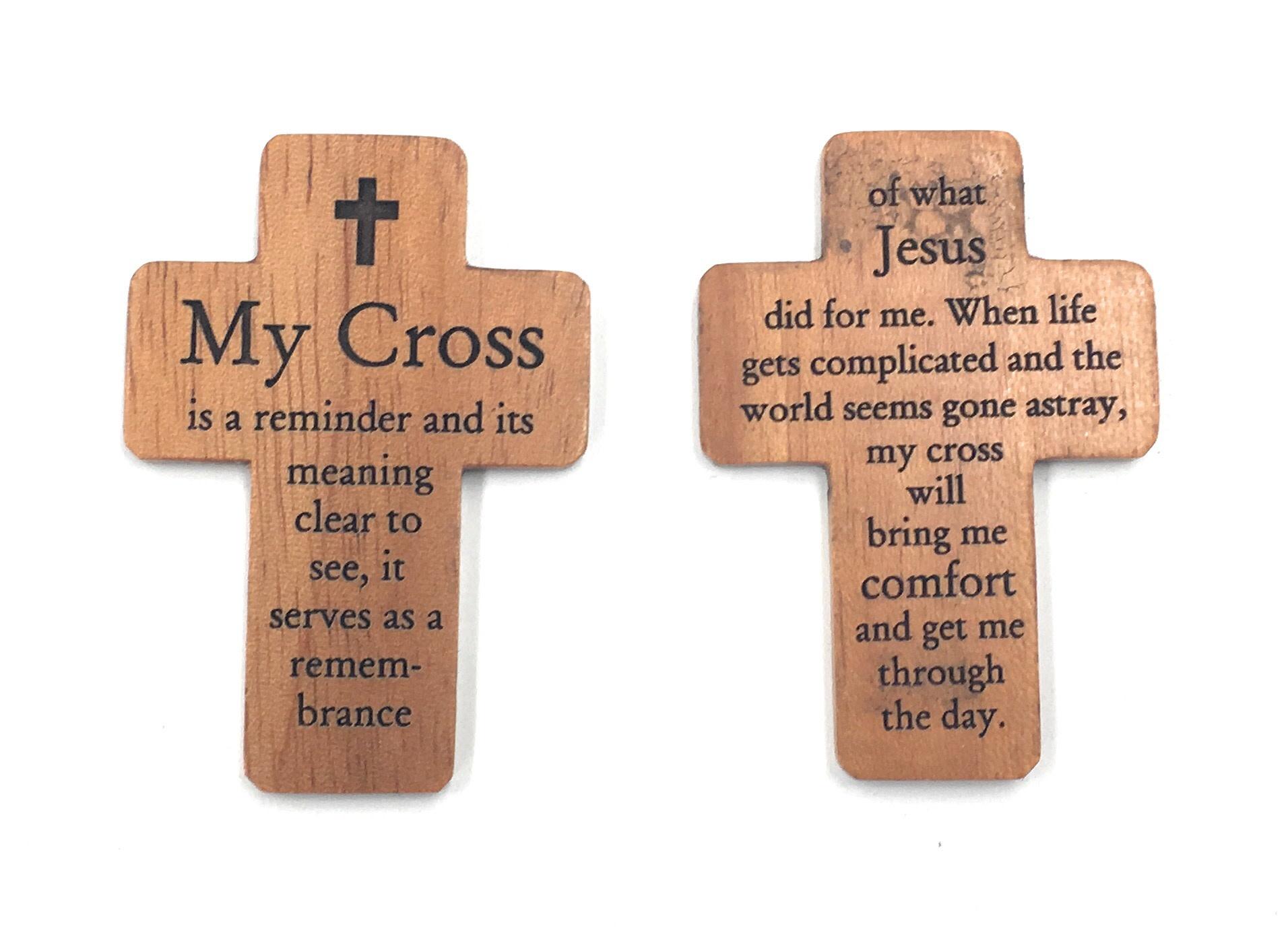 "HJ Sherman 1 3/4"" Pocket Cross with ""My Cross"" Prayer"