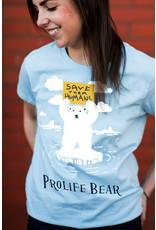 Romantic Catholic Prolife Bear T-shirt Small