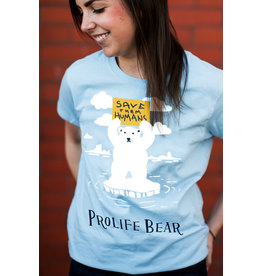 Romantic Catholic Prolife Bear T-shirt Small