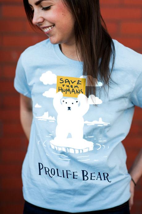 Romantic Catholic Prolife Bear T-shirt Extra Large