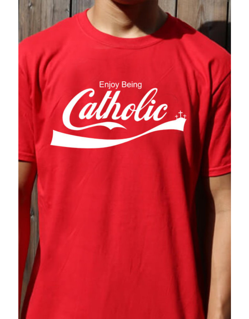 Romantic Catholic Enjoy Being Catholic T-Shirt Small