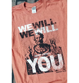 "Romantic Catholic ""We Will Rock You"" T-Shirt Large"