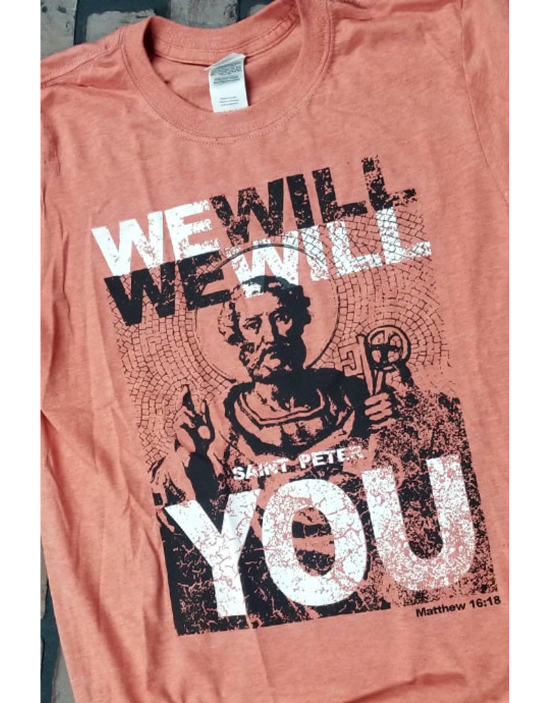 Romantic Catholic We Will Rock You T-Shirt Large