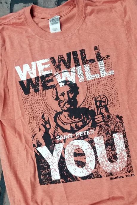 """Romantic Catholic """"We Will Rock You"""" T-Shirt Large"""