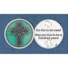 Lumen Mundi Celtic Cross Green Enameled with Prayer Pocket Token