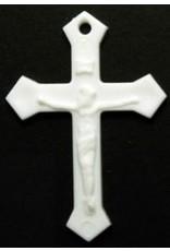 Crucifix White Plastic Rosary