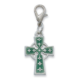 McVan Celtic Cross Clippable Charm Medal With Green Enamel
