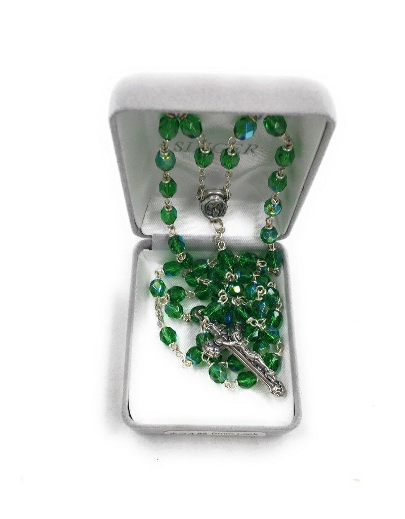 Singer 6mm Lock Link Green Crystal Bead Rosary