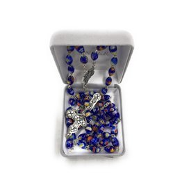 Singer Blue Imitation Murano Bead Rosary