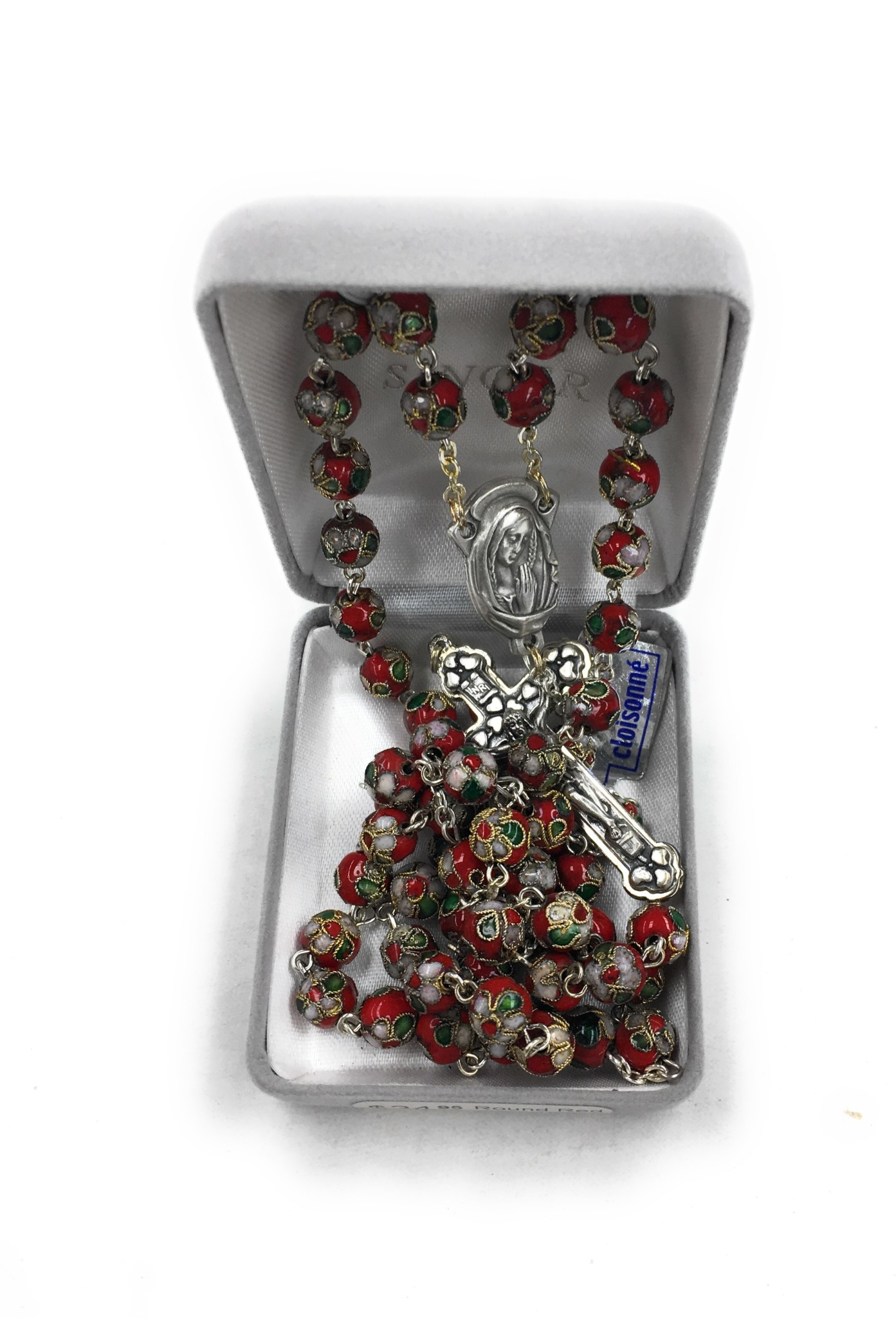 Singer Round Red Cloisonne Bead Rosary