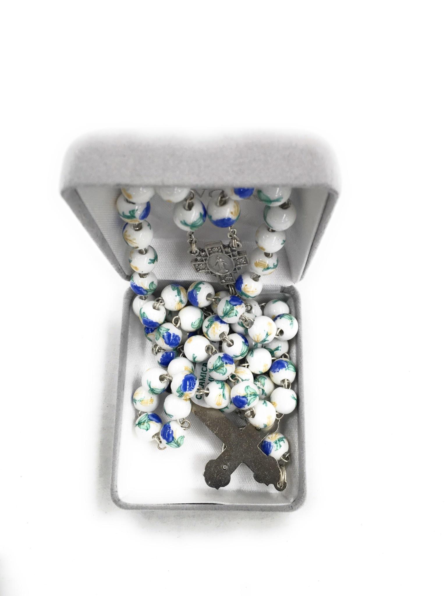 Singer 8mm Ceramic China Flower Bead Rosary
