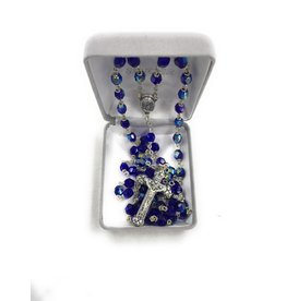 Singer 6mm Sapphire Lock Link Bead Rosary