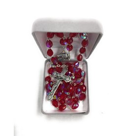 Singer Tear Drop Cut Red Crystal Bead Rosary