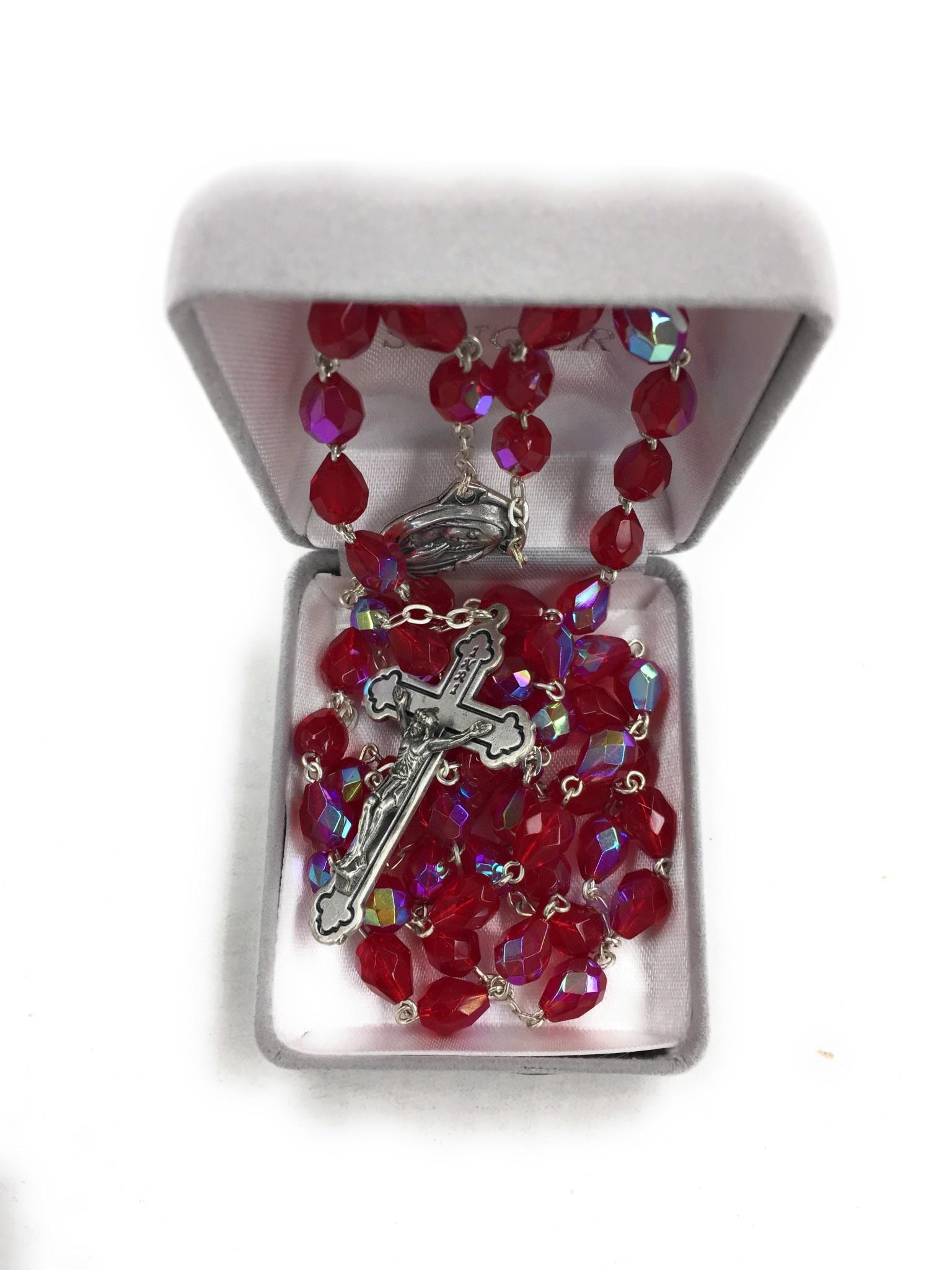 Singer Tear Drop Cut Red Crystal Bead Rosary