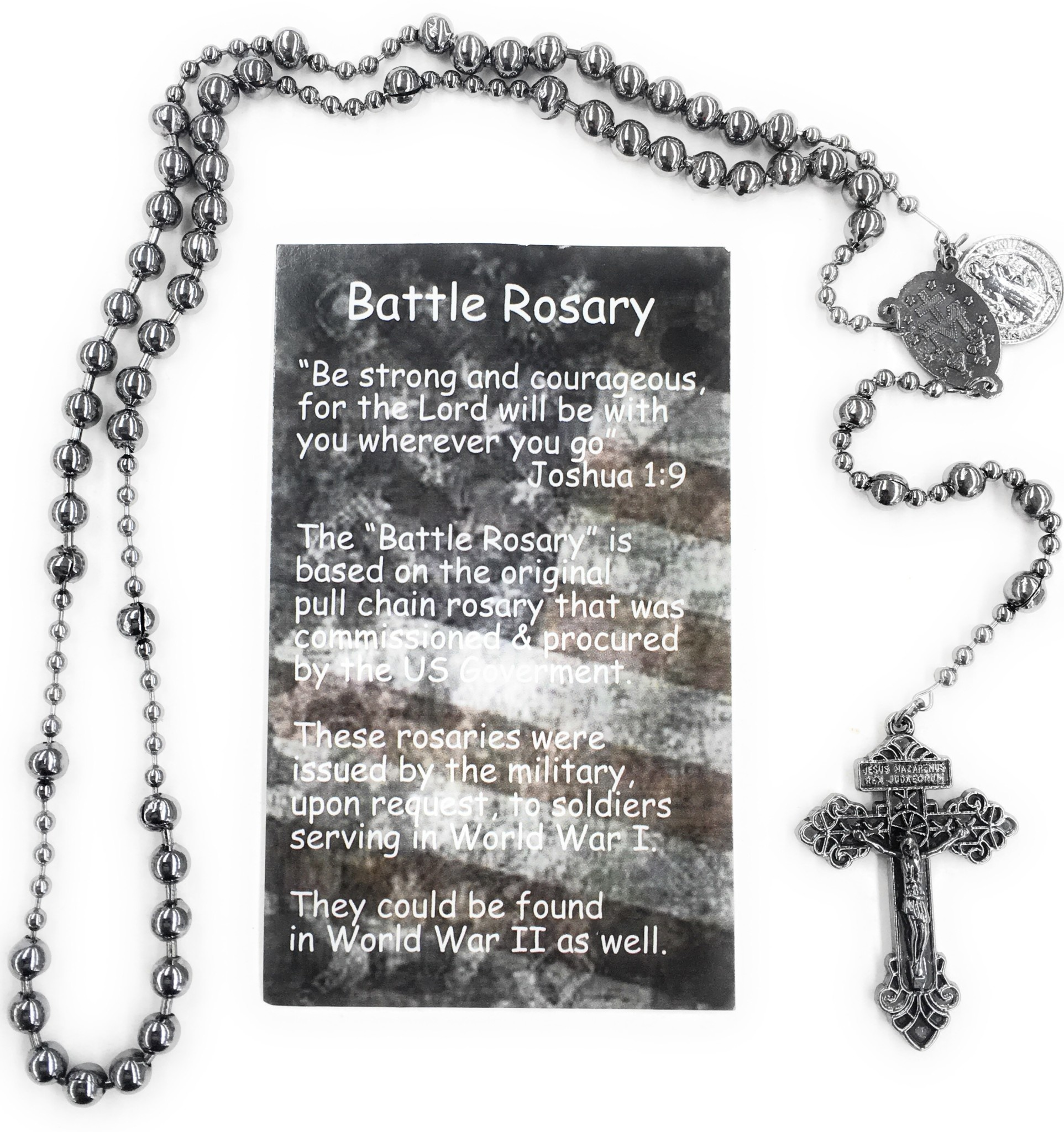 McVan Gun Metal St. Benedict Rosary with prayer card