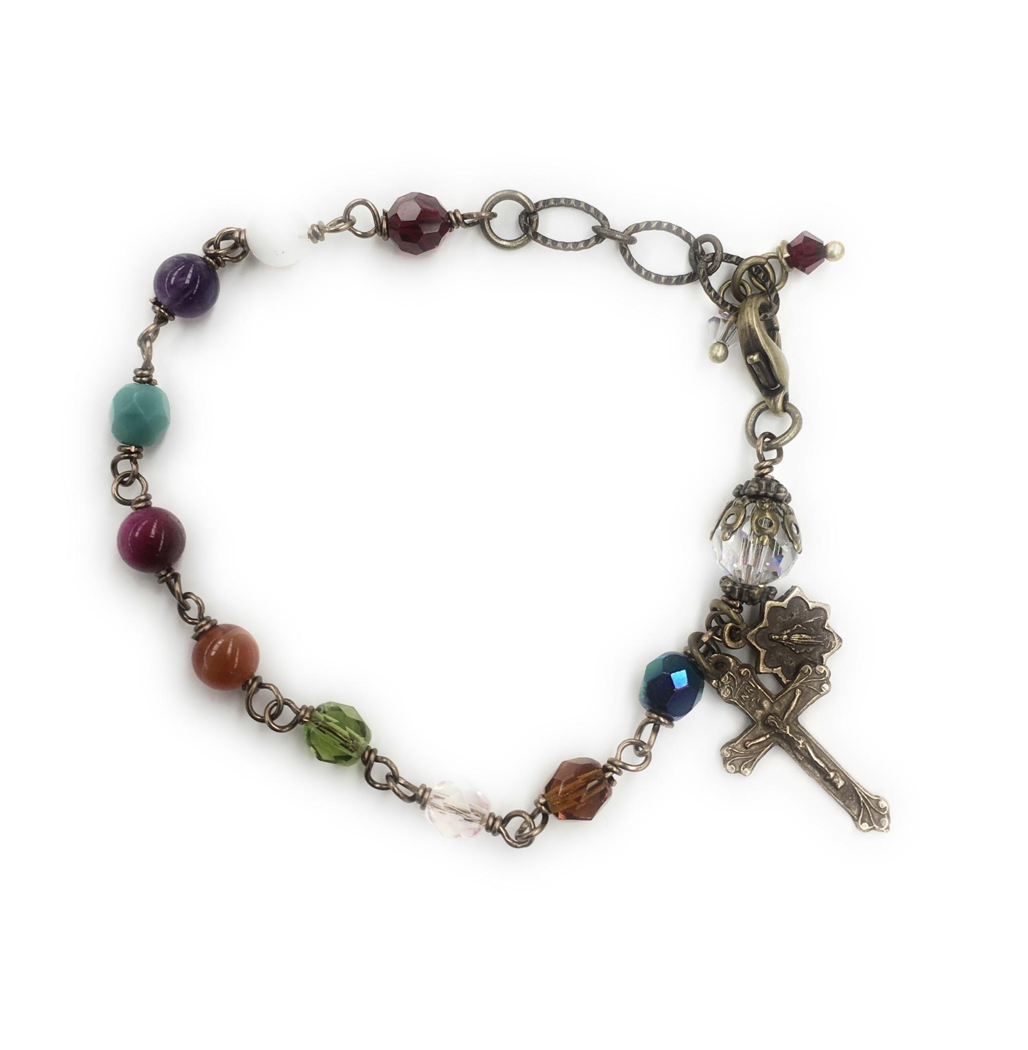 Gail's Design Multi-Color Rosary Bracelet