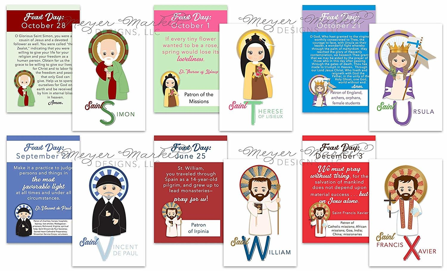 Meyer Market Designs Set of 12 Set of 26 A-Z Kids Saint Cards