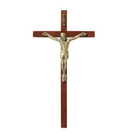 Christian Brands Maple Finish Cross With Antiques Gold Plated Corpus