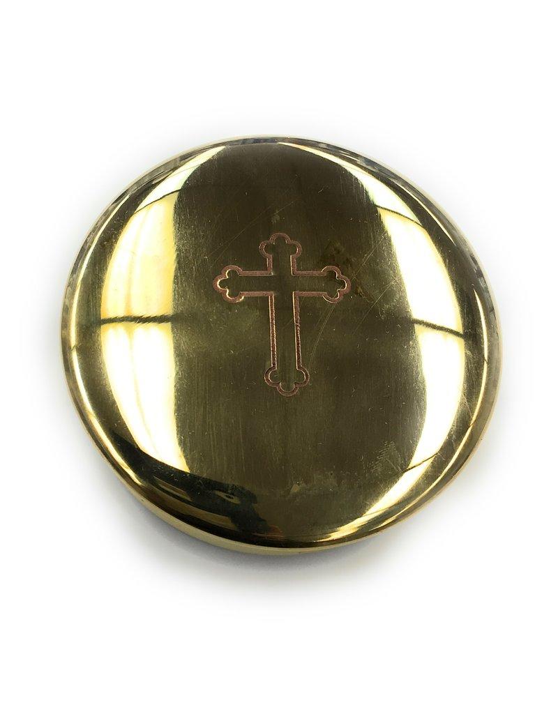 Religious Art Inc Sudbury Brass Cross Pyx (Size 4)