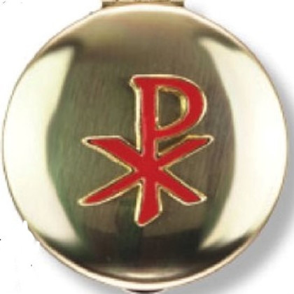 Religious Art Inc Brass Red Enamled Chi Rho Pyx