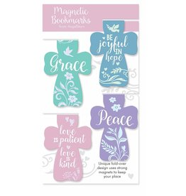 Angel Star Magnetic Bookmark Crosses: Grace, ...Joyful..., Love..., Peace (Set of 4)
