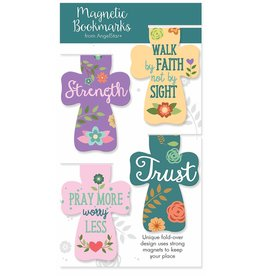 Angel Star Magnetic Bookmark Crosses: Strength, ...Faith..., Pray..., Trust (Set of 4)